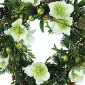 Artificial Christmas White Anemone's & Mixed Foliage Wreath 30cm **FREE UK MAINLAND DELIVERY**